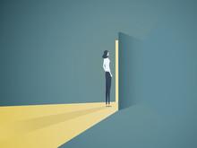 Businesswoman Opening Door Vector Concept. Symbol Of New Career, Opportunities, Business Ventures And Challenges.