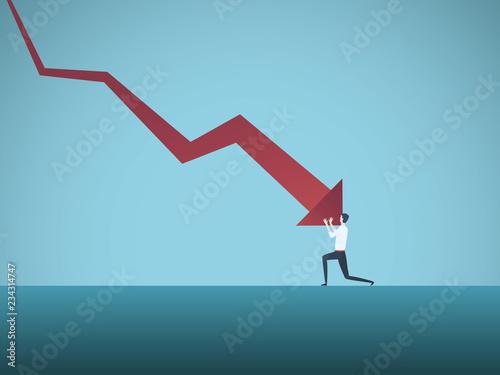 Slika na platnu Bankrupt businessman pushed by downward arrow vector concept
