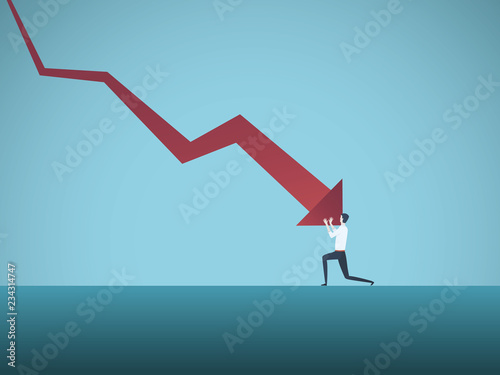Fotografía Bankrupt businessman pushed by downward arrow vector concept