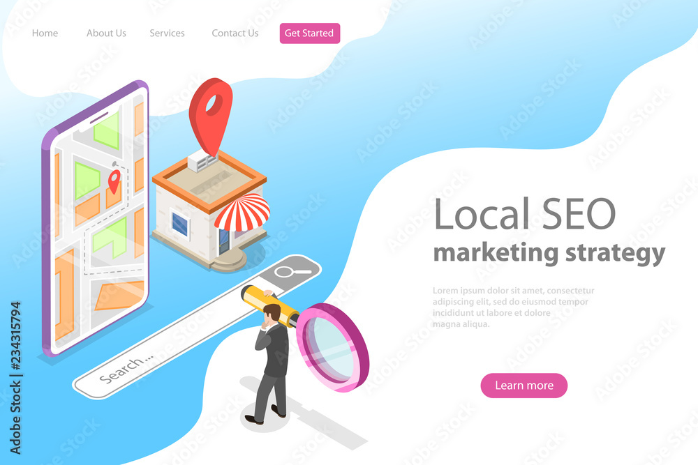 Photo  Isometric flat vector landing page for local seo, serching store, e-commerce