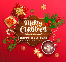 Merry Christmas And New Year Wishing Card On Wood Frame,red Background With Traditional Christmas Decorations-gift Box With Gold Bow,candy Cane,branch,snowflakes,cocoa, Marshmallow.Vector Illustration