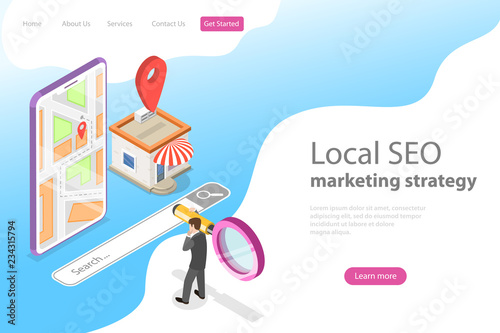 Isometric flat vector landing page for local seo, serching store, e-commerce Canvas Print