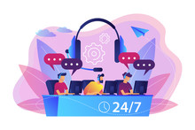 Customer Service Operators With Headsets At Computers Consulting Clients 24 For 7. Call Center, Handling Call System, Virtual Call Center Concept. Bright Vibrant Violet Vector Isolated Illustration