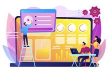 Social Media Specialists Manage Multiple Accounts On Huge Laptop. Social Media Dashboard, Online Marketing Interface, Social Media Metrics Concept. Bright Vibrant Violet Vector Isolated Illustration