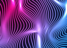 Blue Ultraviolet Neon Curved Wavy Lines Abstract Background