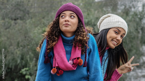 Pinturas sobre lienzo  Female Friends Winter Photobomb