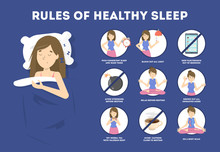 Rules Of Healthy Sleep. Bedtim...