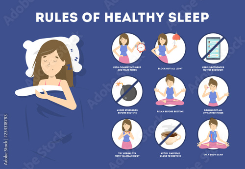 Photo Rules of healthy sleep. Bedtime routine for good sleep