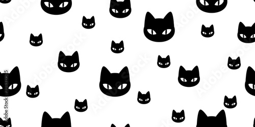 plakat Cat seamless pattern vector kitten calico cartoon scarf isolated illustration tile background repeat wallpaper gift wrap