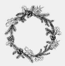 Pine Wreath With Cone And Fir ...