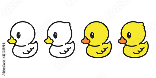 Fotografie, Tablou duck vector icon logo rubber duck cartoon character illustration bird farm anima