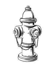 Vector Engraved Style Illustration For Posters, Logo, Label Or Emblem. Hand Drawn Sketch Of Hydrant Or Fireplug Isolated On White Background. Detailed Vintage Etching Style Drawing.