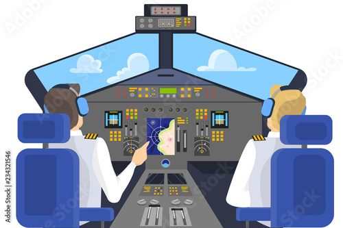 Foto op Canvas Cartoon cars Pilot in cockpit sitting. Control panel in airplane