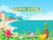 Summertime Poster Seashore Vector Illustration