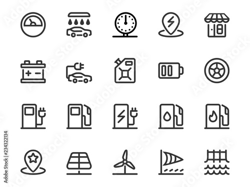 Obraz na plátně  Vector set of gas station icons in outline style