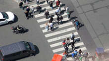 Paris, France - Circa May, 2017: Aerial View Of Pedestrian Crossing On Street In Paris Next To Eiffel Tower