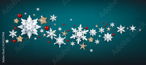 Wall mural - Realistic snowflakes wave