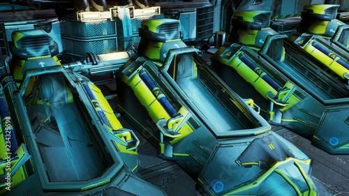 Cuadros en Lienzo  The opening of the cryo capsules on a spaceship. 3D Rendering