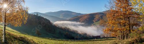 Hachimette dans la brume d'automne, vallée de Kaysersberg, Alsace, France Wallpaper Mural
