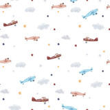 Watercolor aircraft baby pattern - 234328773