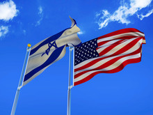 Israel Flag USA Flag Silk Waving Flags State Of Israel With Emblem David Star And United States Of America USA With A Flagpole On A Sunny Blue Sky Background With White Clouds 3D Illustration