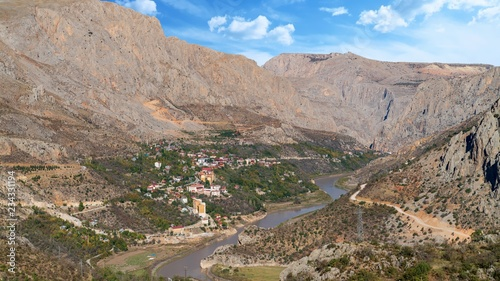 Fotobehang Donkergrijs Aerial landscape view of Kemaliye town between valley in Kemaliye or Egin, Erzincan, Turkey