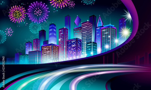 Highway Road Skyser Holiday Christmas Cityscape New Year Polygonal Point Line Dark Blue Night