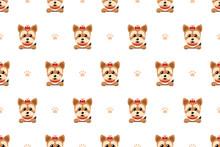 Vector Cartoon Character Yorkshire Terrier Dog Seamless Pattern