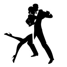 Silhouettes Of Elegant Couple Dancing Romantic Dance Isolated On White Background