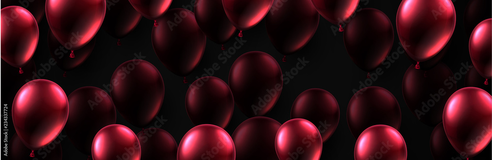 Fototapety, obrazy: Festive banner with red shiny balloons. Holiday design.