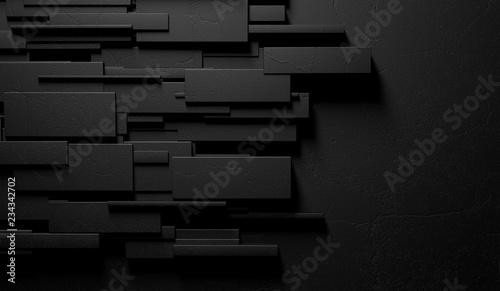 Fotografie, Obraz  Fondo negro y oscuro abstracto de la pared o de los ladrillos de mármol