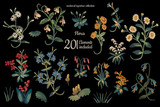 Hand drawn clip art floral set in medieval tapestries style on black background