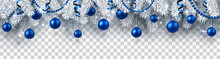 Christmas And New Year Banner With Fir Branches And Blue Christmas Balls On Transparent Background.