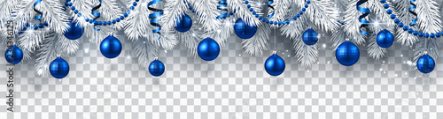 Vászonkép Christmas and New Year banner with fir branches and blue Christmas balls on transparent background