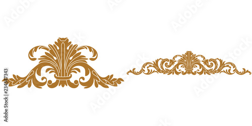 Fotografie, Obraz  Set of golden vintage baroque ornament, corner