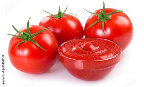 Canvas Print Fresh tomatoes with ketchup on white background