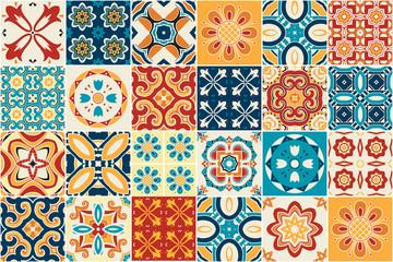 Tradycyjne ozdobne płytki dekoracyjne. azulejos. Wektor.