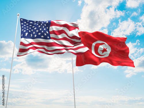 United States Of America Usa Tunisia Flags Are Waving In The Sky With Dark Clouds Buy This Stock Photo And Explore Similar Images At Adobe Stock Adobe Stock