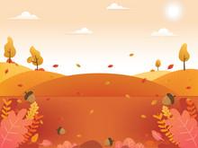 Autumn Background Illustration. Autumn Fall Leaves Background. Beautiful Autumn Scenery Background