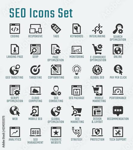 Photo  SEO related big vector icon set
