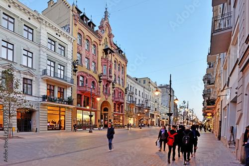 Plakat Polskie miasta   lodz-poland-piotrkowska-street