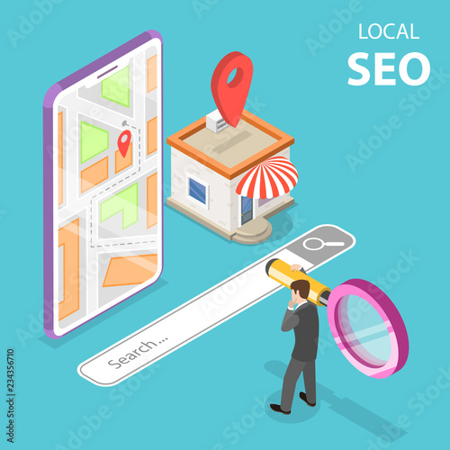 Photo  Isometric flat vector concept of local seo, serching store, e-commerce
