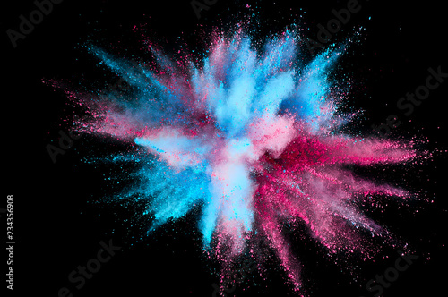 Foto op Plexiglas Rook Colored powder explosion. Abstract closeup dust on backdrop. Colorful explode. Paint holi