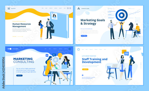 Photo  Set of flat design web page templates of marketing strategy, consulting, human resources management, staff training