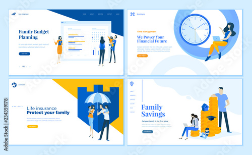 Set Of Flat Design Web Page Templates Of Family Savings Budget