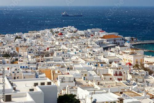 Poster Chora. Mykonos. Aerial view of the city.