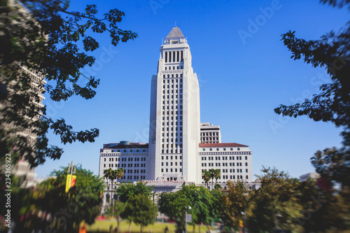 Poster de jardin Los Angeles View of Los Angeles City Hall, Civic Center district of downtown LA, California, United States of America, summer sunny day