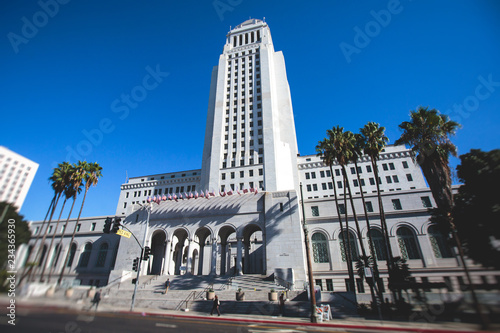 Poster Los Angeles View of Los Angeles City Hall, Civic Center district of downtown LA, California, United States of America, summer sunny day