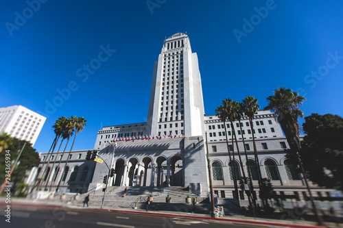 View of Los Angeles City Hall, Civic Center district of downtown LA, California, United States of America, summer sunny day
