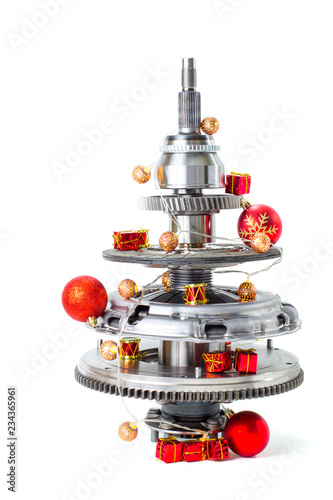 Abstract christmas tree of car parts on a white background Wallpaper Mural